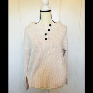 AEO off white button front sweater